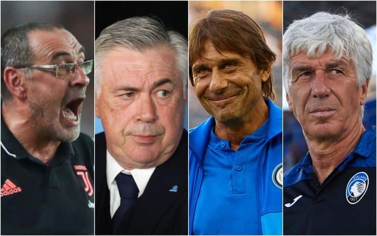 Conte, Sarri, Ancelotti e Gasperini
