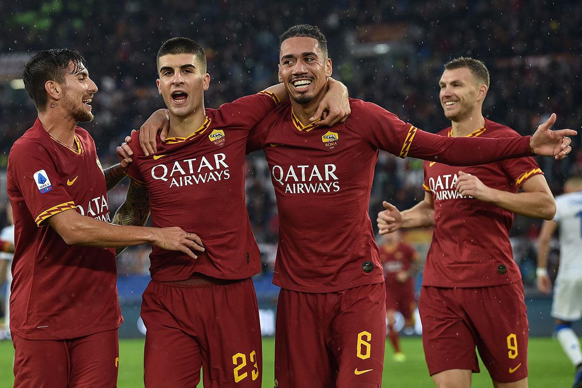 Roma, esultanza al gol di Mancini (@imagephotoagency)
