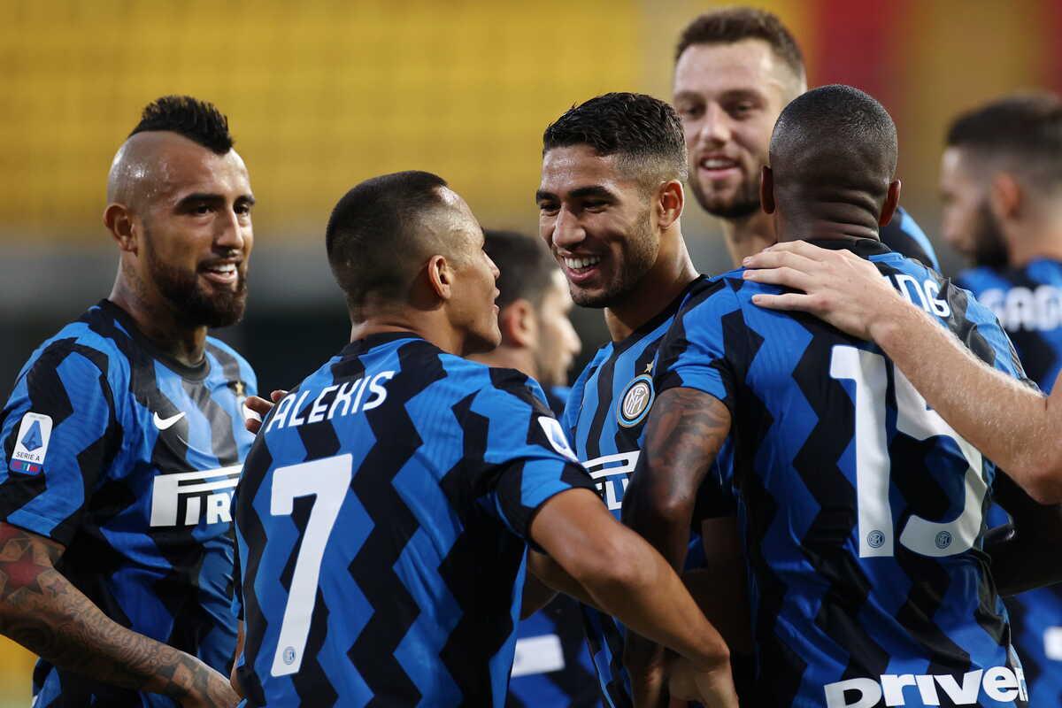Achraf Hakimi, esterno dell'Inter festeggia il primo gol in Serie A @imagephotoagency